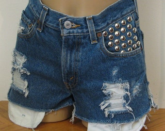 Items similar to Vintage Levi 505's -Studded, High Waisted ...