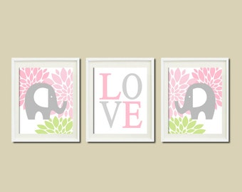 Elephant Nursery Wall Art ELEPHANT Decor Pink Gray Grey Floral Love Set of 3 Prints Or Canvas Baby Girl Nursery Decor Girl Nursery Wall Art