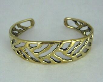 """Solid Bronze """"Cross Hatch Pattern"""" Bracelet"""