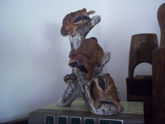 Raccoons Masterpiece Figurine Homco Home Interiors By