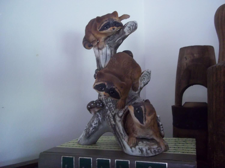 Raccoons masterpiece figurine homco home interiors by gibsonlane for Home interior masterpiece figurines