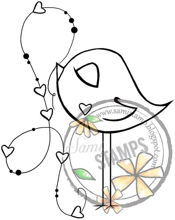 """Digital Stamp """"Birdie Hearts"""""""