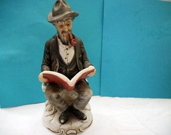 Vintage Homco Like Bisque Figurine Old Man ReadingGreat Mothers Day, Fathers Day. Housewarming, Birthday, or Wedding Gift