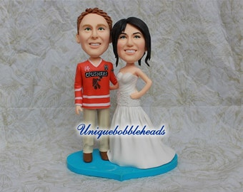 Custom wedding cake toppers jerseys customized clay figurines lifelike to look like you keepsake