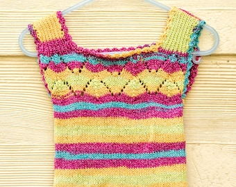 Summer Baby Singlet Top  with Lace Detail, Vintage Inspired Vest, Retro in Rainbow Striped  Cotton/Wool Blend with Lurex