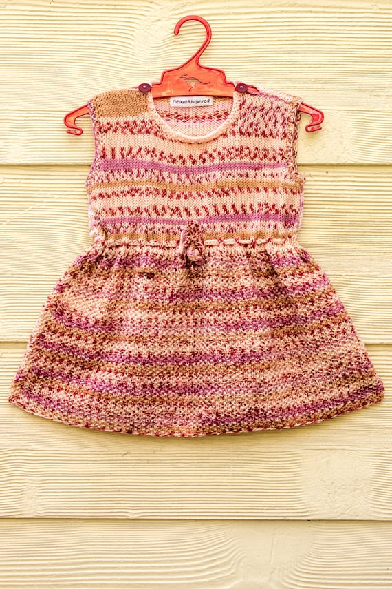 Simple Knit Dress Pattern : KNITTING PATTERN Baby Dress Easy Baby Dress Cute Baby Dress