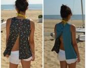 Super Cute Summer Beach Blouse Open Back Top REVERSIBLE Blue Striped Pattern (Only Medium left)