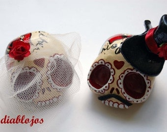 Wedding Sugar Skulls Cake toppers Bride and Groom Mexican Day of the Dead, Dia de los Muertos
