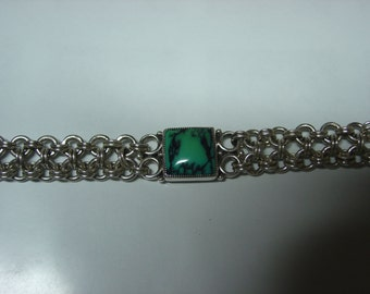 Sterling Chainmaille Bracelet with Turquoise ... Made to Order