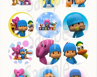 "Pocoyo 2 1/4"" Circle Stickers- 12pcs, cut & peel"
