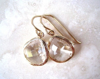 Crystal Gold Earrings, Bridesmaid, Wedding Jewelry, Gold Filled Wires, Crystal Clear Drop Earrings