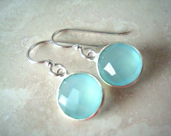 Aqua Chalcedony Sterling Silver Earrings, Dangle, Aqua Mint Chalcedony Earring, Sterling Wires, Aqua Delicate Earrings