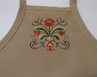 Embroidered Scandinavian Folk Art Floral on Black or Khaki Apron #440