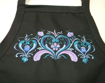 Embroidered Norwegian Rosemaling Hearts on Black or Burgundy Apron