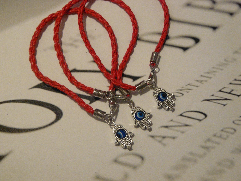 3 x Lucky Eye HAMSA Red String Kabbalah Bracelets Evil Eye Charm Jewelry
