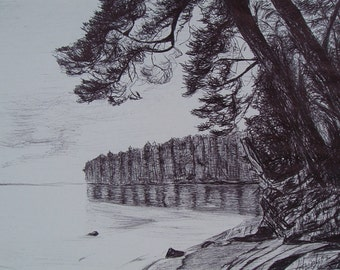 Pen on Paper. Lake.