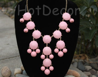 Bib Necklace for girls Pink Necklace Statement necklace Statement jewelry for women Chunky Necklace Beaded necklace for holiday