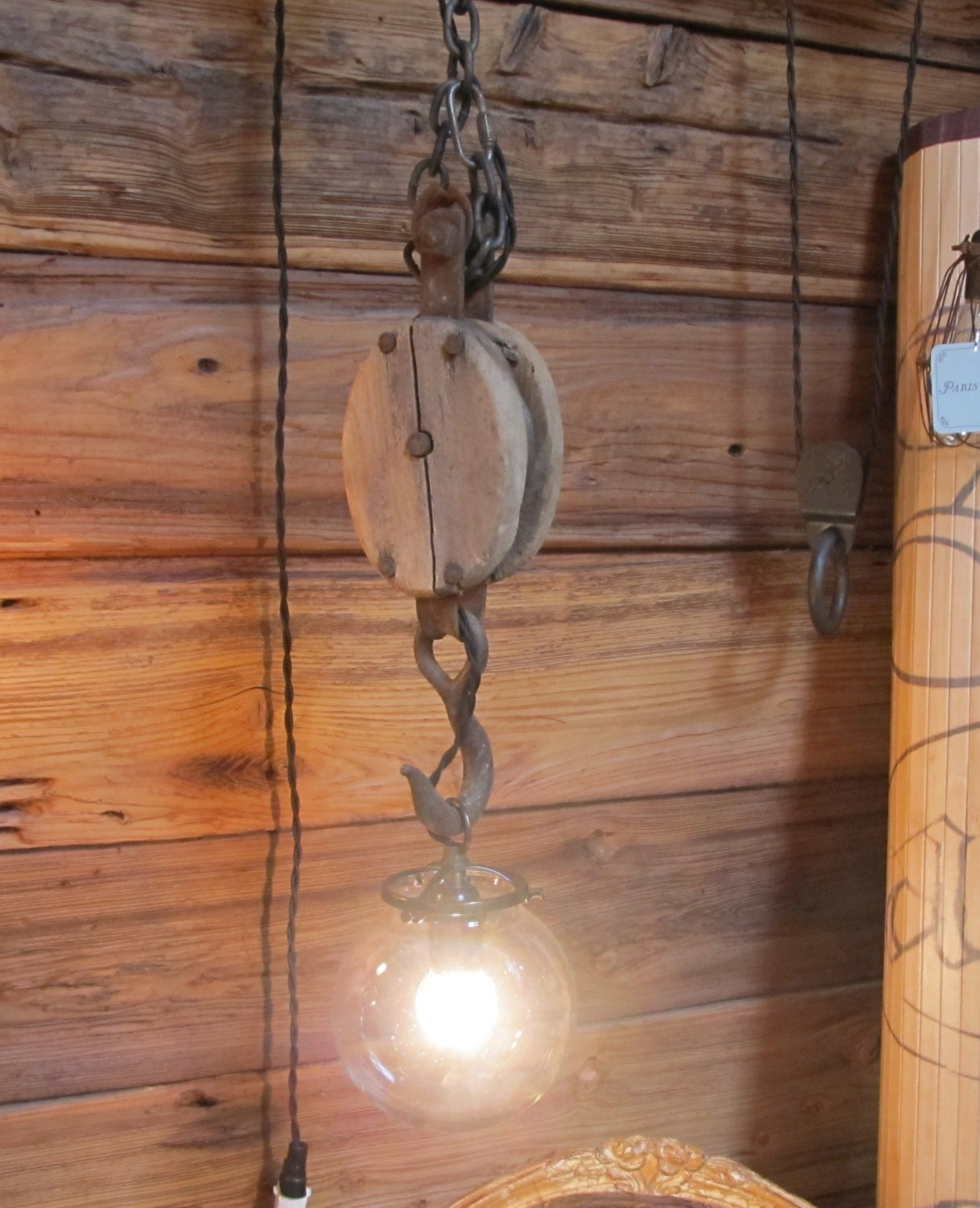 Vintage Wooden Block Pulley Pendant Light With Glass By
