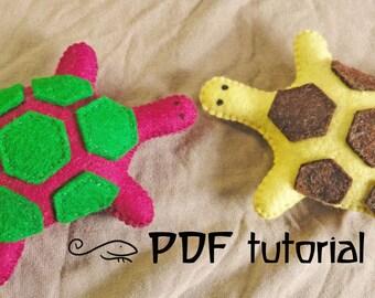 Turtle, tortoise, felt turtle, felt turtle pattern, tortoise pattern, felt turtle making pattern, felt animal, felt animal tutorial, PDF
