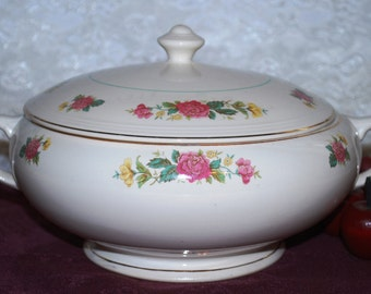 Salem China Co Symphony Gold Trim Flowered Footed Covered Casserole Dish