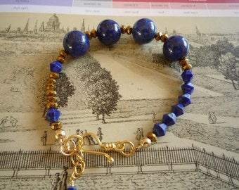 Lapis Lazuli and Pyrite Bracelet, Blue Bracelet, Blue and Gold Bracelet, Gold Coated Pyrite Bracelet, Gemstone Bracelet, Handmade