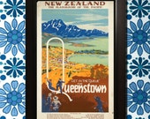 New Zealand Queenstown Travel Poster - 3 sizes available, one low price.