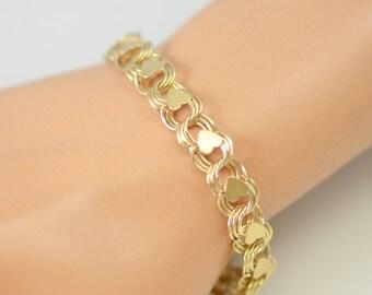 Vintage Handmade 14K Charm Bracelet with Hearts