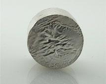 Round Silver Pill Box with Reticulated Silver Top - Sterling Silver Box - Treasure Box - Distressed Silver Box