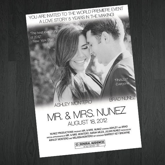 Movie Poster Save The Date Movie Poster By MemorableImprints