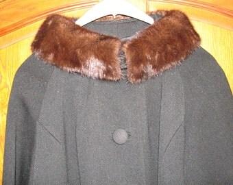Vintage 1960s Mink Collar Coat - Gorgeous