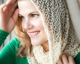 Crochet Lacy Cowl - Ivory Lacy Scarf - Delicate Ivory Cowl - Hand Crocheted Infinity Scarf Snood