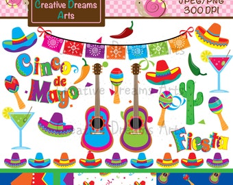 40% Off! Fiesta Digital Clip Art Instant Download