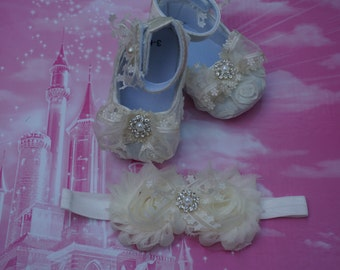 white baby shoes, Baby Girl white Satin Rosette Crib Shoes ,Baby Shoes and headband,Christening shoes, Baptism shoes