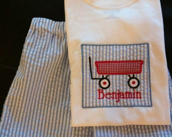 Monogrammed Personalized Boys 2 pc Red Wagon applique Shirt Shorts set