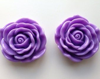 45mm Purple Flower Chunky Necklace Bead