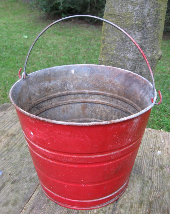 Vintage pail bucket metal antique red pail christmas by for Christmas tin pails