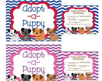 Adopt a Puppy sign and certificates
