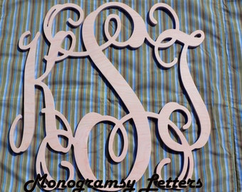 "Large (24"") Wooden Monogram-Ready to Paint-Monogram your Home"
