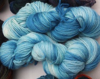 Hand-dyed aran weight yarn 100% wool
