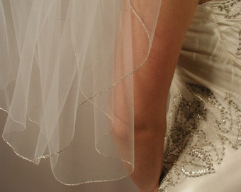 "Silver edging Wedding veil. Bridal veil. 30"" elbow length wedding veil with silver pencil trimmed."