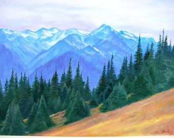 Landscape, scenic, original painting, acrylic on canvas,  peaceful mountain view of Olympic National Park, Washington State, USA