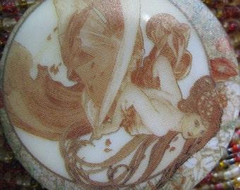 Art Nouveau Dancing Woman Czech Glass Button 42mm