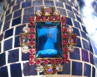 Blue Rectangle Czech Glass Crystal Button with Red and Aruroa Accents