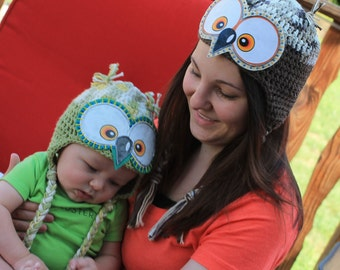 Baby Owl Hats, Matching Owl Hats for Mom and Baby, Owl Hats for Toddlers, Brother and Sister, Natural Colors