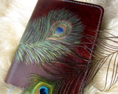 Leather Journal with Carved Peacock Feather - Handmade Leather Journal Cover