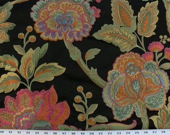 Drapery Fabric, Upholstery Fabric, Pillow Fabric, Duvet Fabric, Home Decor Fabric, Black Floral Leaf Fabric, Diy/Sewing Material