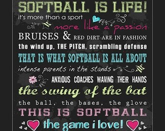 Softball 16x16 Subway Art Metallic Print