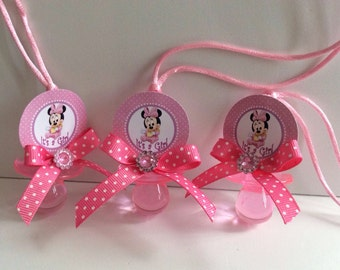 Minnie Mouse baby shower pacifiers - Minnie Mouse baby shower favors- pink minnie mouse necklace game- Minnie Mouse baby shower