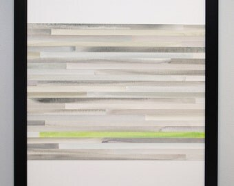 Abstract Watercolor Painting, Collage, Original - Gray and Chartreuse Green - MADE TO ORDER