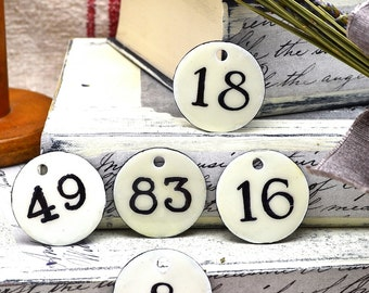 Metal Number Tags Vintage French Enamel Look - Any Custom Number